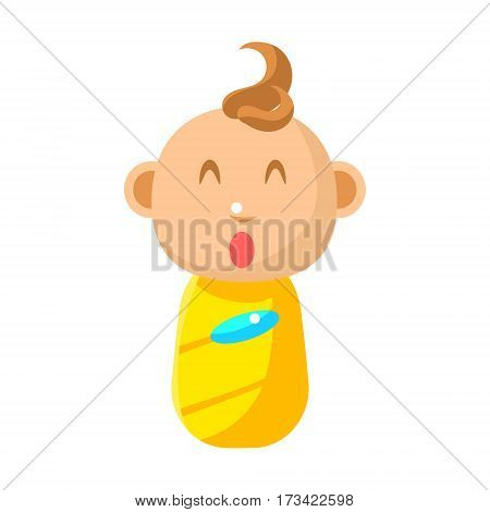 Small Happy Newborn Baby Swaddled In Yellow Diaper Vector Simple Illustrations With Cute Infant. Part Of Infancy Series Of Isolated Flat Icons With Smiling Kids And Their Activities.
