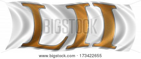 In The Wind Fluttering The Flag With Roman Numeral Lii, Duo Et Quinquaginta, 52, Fifty Two, Isolated