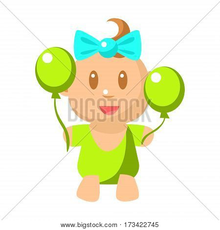 Small Happy Baby Girl In Green Onesie With Two Balloons Vector Simple Illustrations With Cute Infant. Part Of Infancy Series Of Isolated Flat Icons With Smiling Kids And Their Activities.