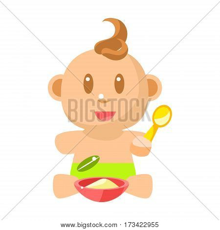 Small Happy Baby Boy In Green Nappy Eating Porridge With Spoon Vector Simple Illustrations With Cute Infant. Part Of Infancy Series Of Isolated Flat Icons With Smiling Kids And Their Activities.