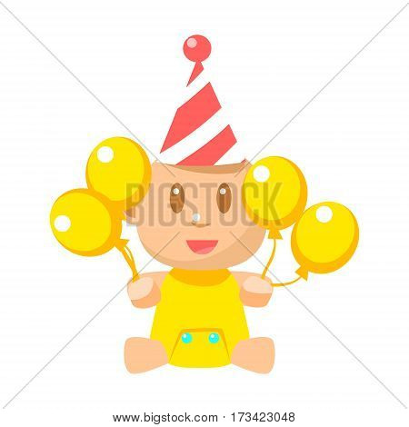 Small Happy Baby In Birthday Party Hat With Yellow Balloons Vector Simple Illustrations With Cute Infant. Part Of Infancy Series Of Isolated Flat Icons With Smiling Kids And Their Activities.