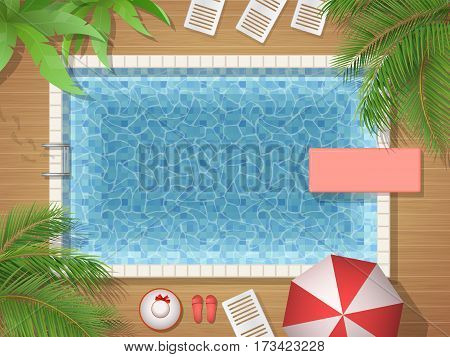 Swimming pool and palm tree top view. Vector illustration of an active vacation or a party.