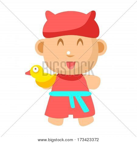 Small Happy Baby Standing In Red Gown With Toy Duck Going To Take A Bath Vector Simple Illustrations With Cute Infant. Part Of Infancy Series Of Isolated Flat Icons With Smiling Kids And Their Activities.