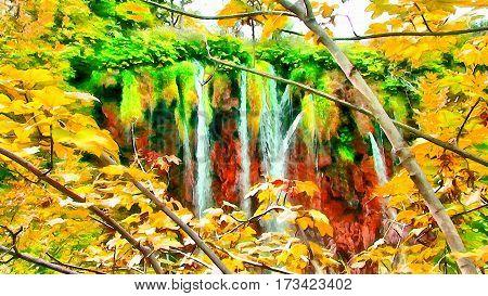 Mountain Waterfall Image Watercolor