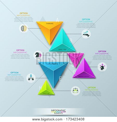 Infographic design template with 6 separate multicolored pyramidal elements divided into pairs and connected with text boxes. Features of business development. Vector illustration for website, report.