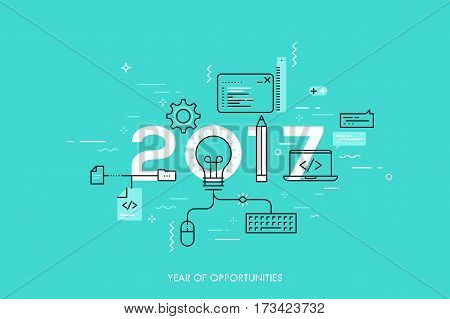 Infographic banner 2017 year of opportunities. New hot trends and prospects in software, front-end web development, program coding, programming languages. Vector illustration in thin line style.