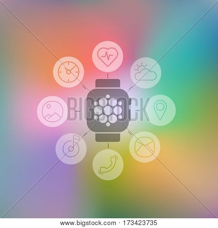Decoration vector illustration concept flat smart watch with set flat round icons for mobile apps and for stores and for web design