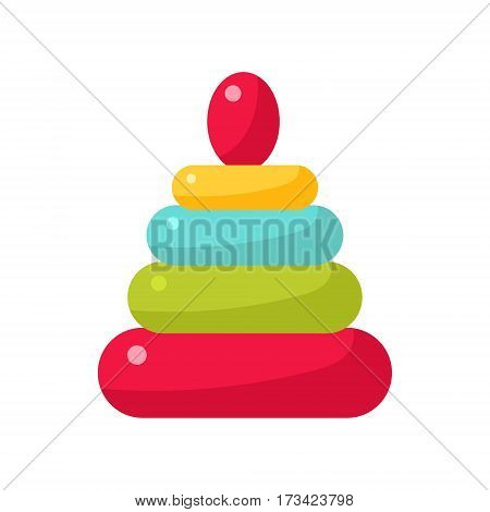 Colorful Pyrmid Constructor For Infants, Object From Baby Room, Happy Childhood Cute Illustration. Part Of Happy Childhood And Infancy Isolated Cartoon Items Series.