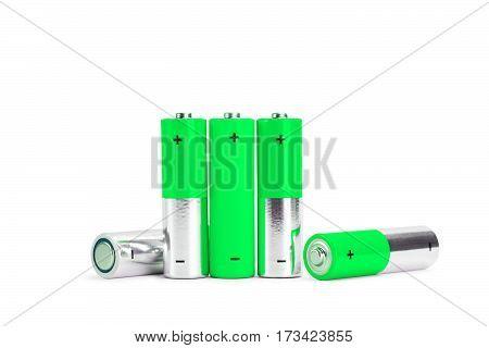 AA aa Battery Closeup on white Background