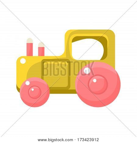 Toy Yellow Truck With Pink Wheels, Object From Baby Room, Happy Childhood Cute Illustration. Part Of Happy Childhood And Infancy Isolated Cartoon Items Series.