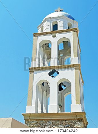 Tower of a church on the island of Kos in Greece