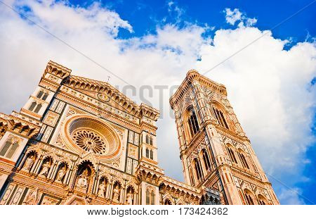 Famous Cathedral Santa Maria Del Fiore With Giotto's Campanile At Sunset On Piazza Del Duomo In Flor