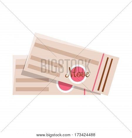 Two Movies Entrance Tickets, Cinema And Movie Theatre Related Object Cartoon Colorful Vector Illustration. Isolated Object Cinematography Entertainment Attribute In Bright Color.