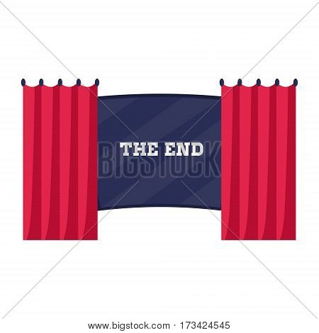 End Credits And Curtains Clothing The Screen, Cinema And Movie Theatre Related Object Cartoon Colorful Vector Illustration. Isolated Object Cinematography Entertainment Attribute In Bright Color.