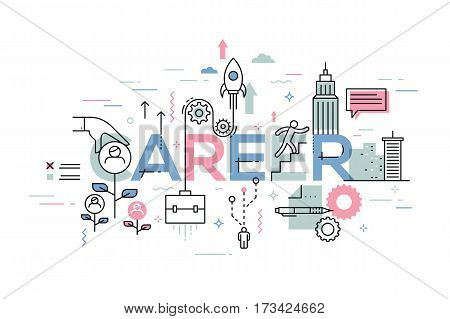 Modern, creative infographic banner with elements in thin line style. Career opportunities, job seeking, recruitment and employment concept. Vector illustration for website, presentation, banner.