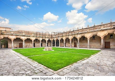 Courtyard Of Famous University Of Salamanca, The Oldest University In Spain And One Of The Oldest In