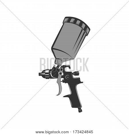 Icon spray gun in retro style. Tool car painting. Vintage monochrome icon.