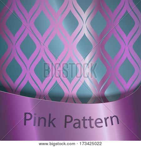 Vector pink silk seamless ornament on a blue background with a pink ribbon.Traditional classical ornament