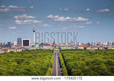 Berlin Skyline With Tiergarten Park In Summer, Germany