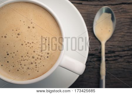 Close Up Cup Of Cappuccino On The Retro Wooden Table, Cappuccino Foam Background.