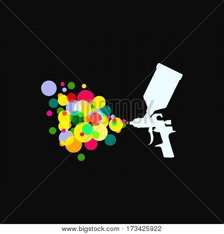 Icon Spray Gun . Silhouete Of Tool Car Painting.
