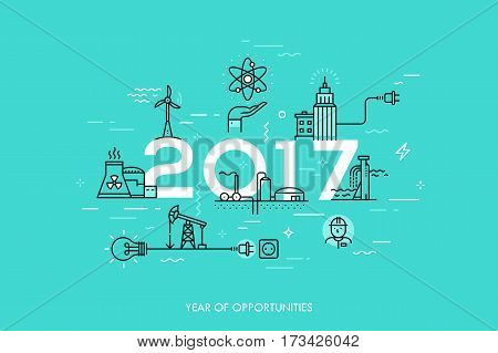 Infographic banner, 2017 - year of opportunities. Trends and predictions in water supply, electric power generation, nuclear plant construction, oil extraction. Vector illustration in thin line style.