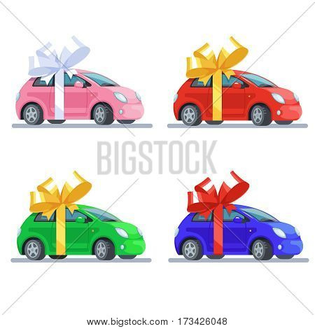 Vector illustration set multicolor pink red blue green cars with bow flat style on white background. Concept design gift automobile or car presentation