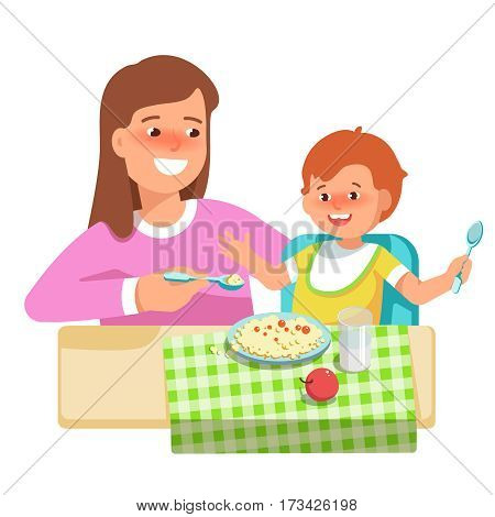 Vector illustration of happy mother feeding her child in flat style on white background. Meal in a kindergarten or home. Concept complementary food