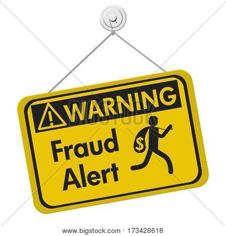 Fraud alert warning sign A yellow warning hanging sign with text Fraud Alert and theft icon isolated over white 3D Illustration