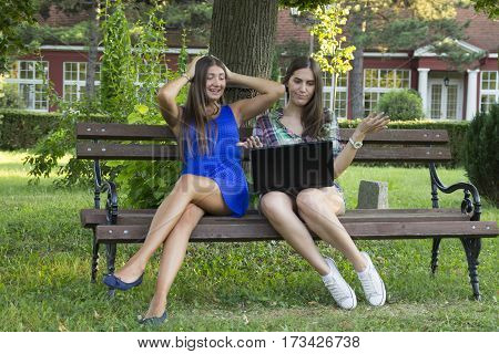 Two Business Women In The Park To Buy A Laptop
