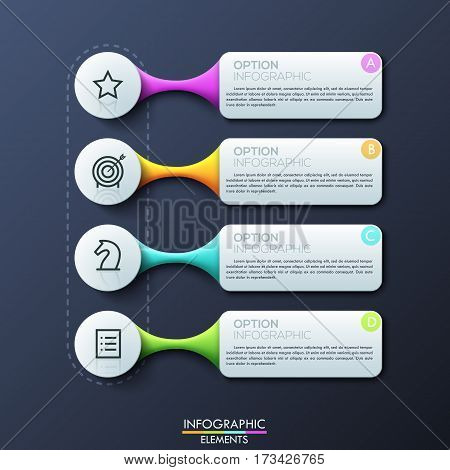 Modern infographic design template, 4 separate multicolored rectangular text boxes connected with pictograms. Four main features of company services. Vector illustration for presentation, game menu.