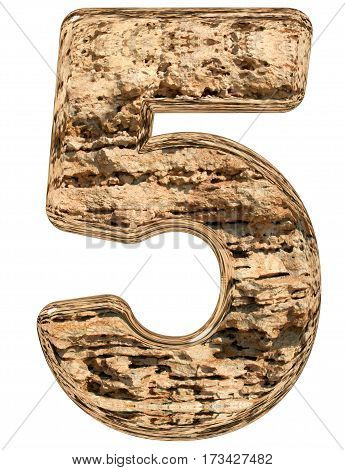 Numeral 5, Five, Isolated On White, Natural Limestone, 3D Illustration