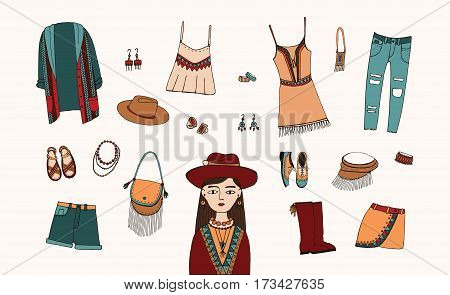 Bohemian fashion style set. Colorful hand drawn illustration. Boho and gypsy clothes, accessories collection.