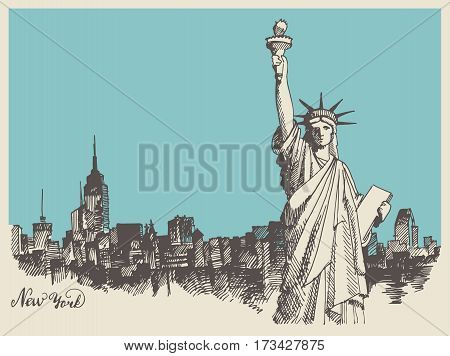 New York city architecture with Statue of Liberty on front, vector vintage engraved illustration, hand drawn, sketch