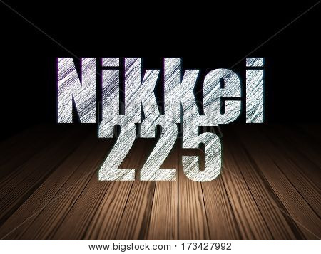 Stock market indexes concept: Glowing text Nikkei 225 in grunge dark room with Wooden Floor, black background