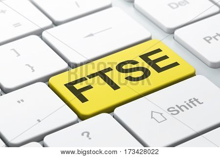 Stock market indexes concept: computer keyboard with word FTSE, selected focus on enter button background, 3D rendering