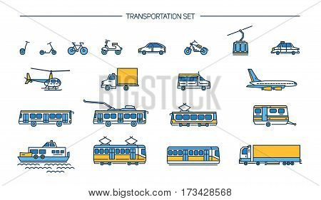 Collection with bike, bus, trolley, subway, train, car, airplane, scooter, funicular, tram, plane, boat Lineart icon set with ground transport aviation and water transportation on white background