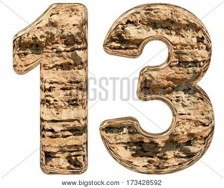 Numeral 13, Thirteen, Isolated On White, Natural Limestone, 3D Illustration