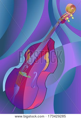 contrabass on a multicolor background. 10 EPS