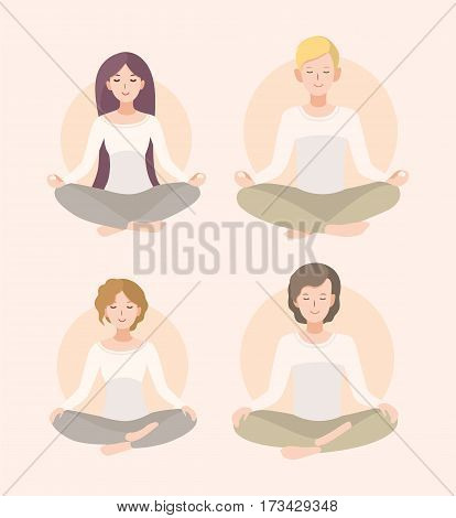 Relaxation, isolated people illustration. Set young woman and man meditating in lotus pose and crossed legs .