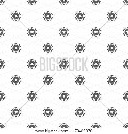 Gambling chips seamless background. Black casino chip with card suits pattern. Poker texture. Vector illustration. EPS 10.