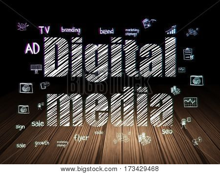 Marketing concept: Glowing text Digital Media,  Hand Drawn Marketing Icons in grunge dark room with Wooden Floor, black background