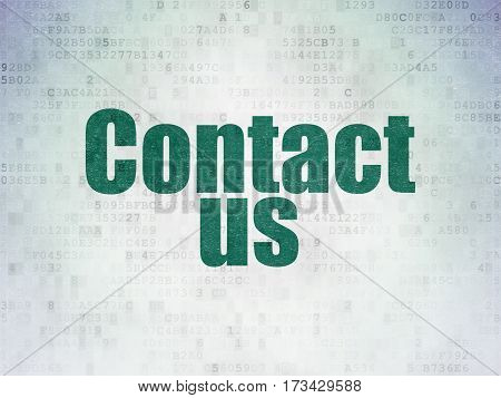 Advertising concept: Painted green word Contact Us on Digital Data Paper background
