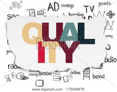 Marketing concept: Painted multicolor text Quality on Torn Paper background with  Hand Drawn Marketing Icons