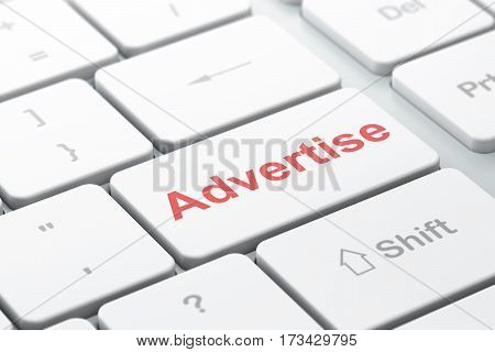 Advertising concept: computer keyboard with word Advertise, selected focus on enter button background, 3D rendering
