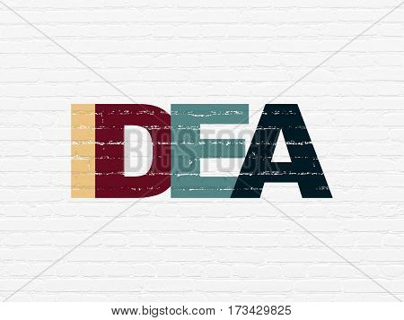 Marketing concept: Painted multicolor text Idea on White Brick wall background