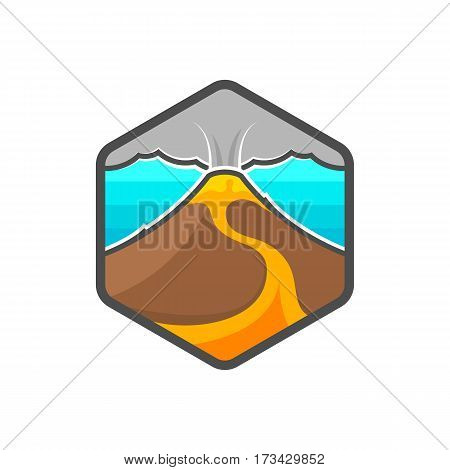 Volcano. Crater. Mountain. Vector illustration. Magma. Lava. Logo. Badge. Emblem.