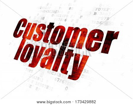 Marketing concept: Pixelated red text Customer Loyalty on Digital background