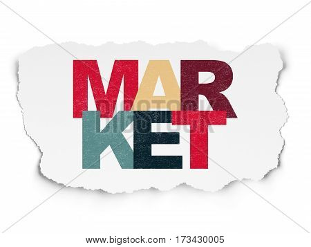 Marketing concept: Painted multicolor text Market on Torn Paper background