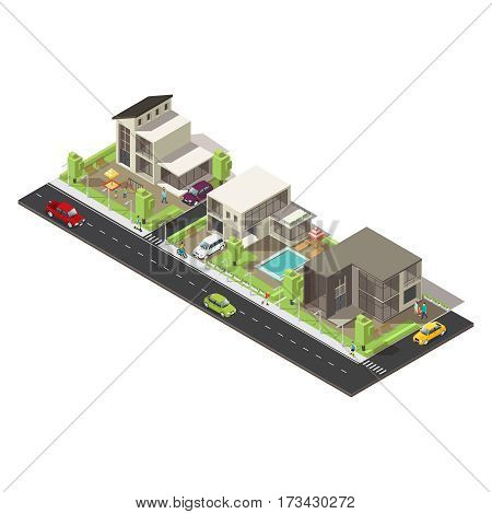 Isometric suburban district concept with mansions cottages people trees sedan pickup crossover and road vector illustration
